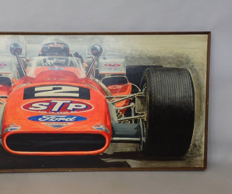 Mid-Century Modern Large Oil on Board Painting Mario Andretti 1969 Indianapolis 500 Winner For Sale