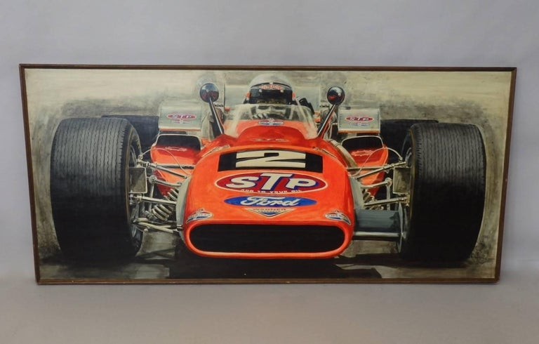 American Large Oil on Board Painting Mario Andretti 1969 Indianapolis 500 Winner For Sale