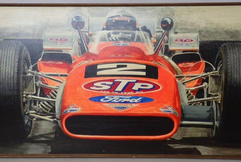 Large Oil on Board Painting Mario Andretti 1969 Indianapolis 500 Winner In Good Condition For Sale In Ferndale, MI