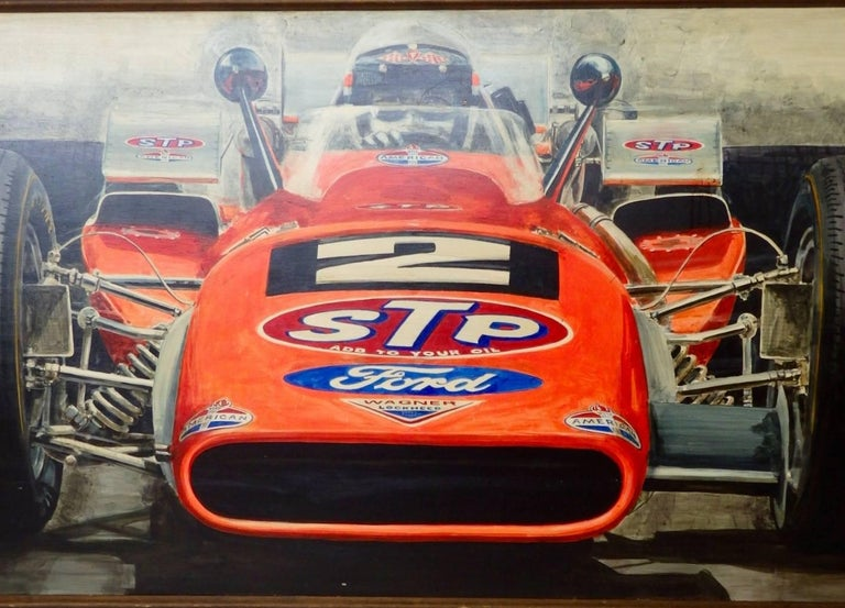 20th Century Large Oil on Board Painting Mario Andretti 1969 Indianapolis 500 Winner For Sale