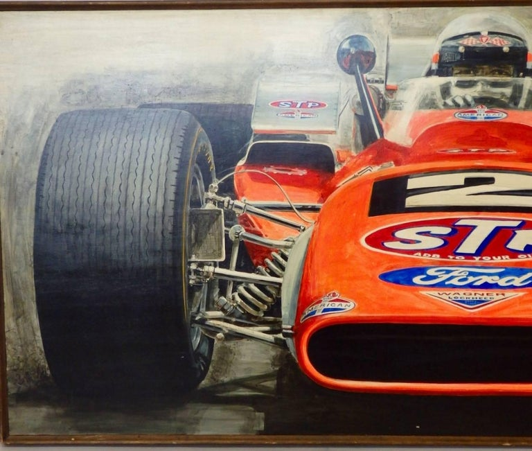 Wood Large Oil on Board Painting Mario Andretti 1969 Indianapolis 500 Winner For Sale