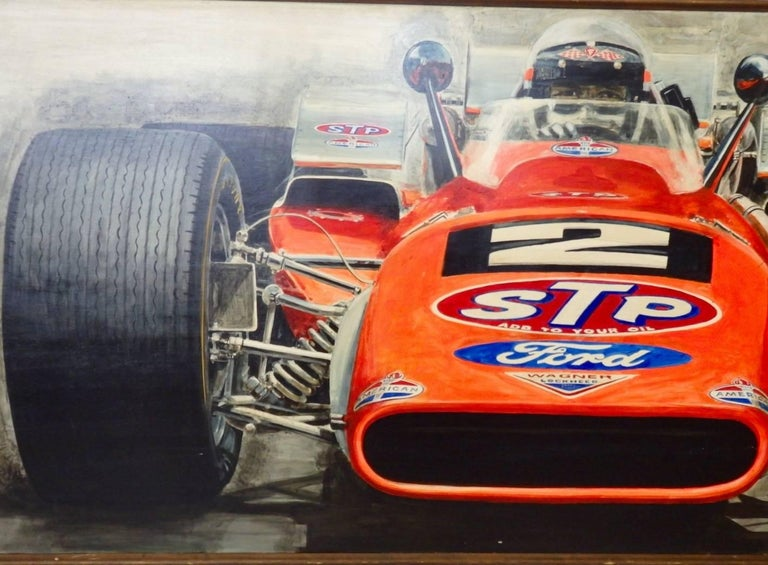 Large Oil on Board Painting Mario Andretti 1969 Indianapolis 500 Winner For Sale 1