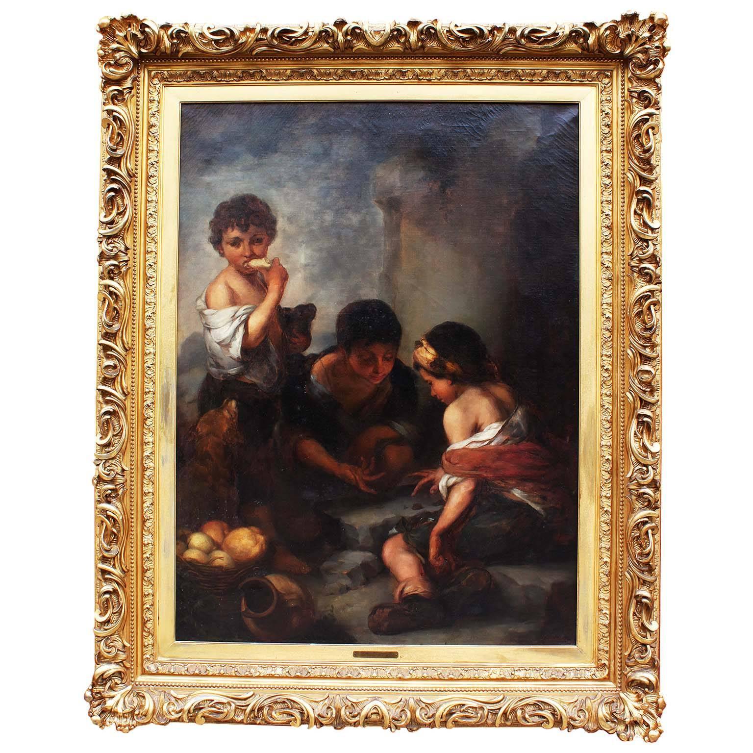 """Large Oil on Canvas """"Beggar Boys Playing Dice"""" After Bartolomé Esteban Murrillo"""