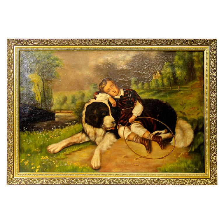 """Large Oil On Canvas """"Best Friends"""", Signed G. Hoy, 1930 For Sale"""