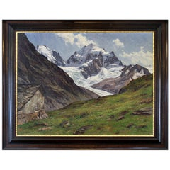Large Oil on Canvas by Erwin Ketterman of an Alpine Scene