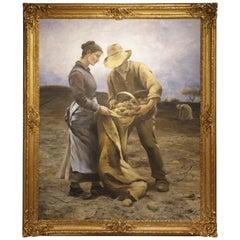 "Large Oil on Canvas in Giltwood Frame, ""Potatisplockarna"""