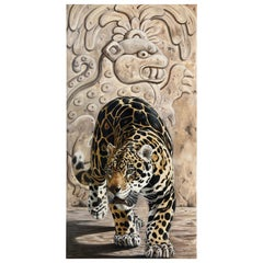 Large Oil on Canvas, Mayan Jaguar by Kindrie Grove 2002