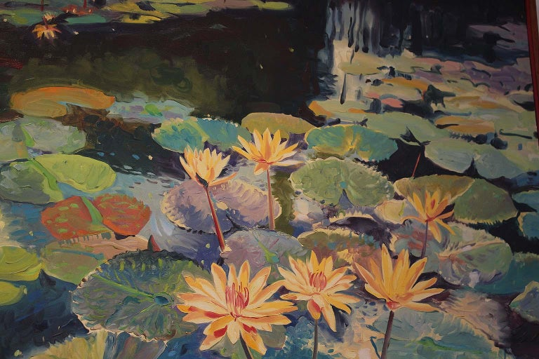 Jan Kasprzycki is fascinated by the wonders of natural light. He evokes its mystic spell in scenes of radiant flowers, in cities that pulse with electric zeal, in portraits that probe beneath the surface of the paint. His works appear to possess a