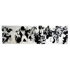 Large Oil on Canvas Jazz Box, France, 1960