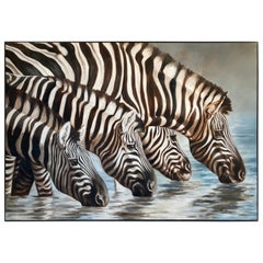 Large Oil on Canvas Oasis, African Zebras by Kindrie Grove, 1999