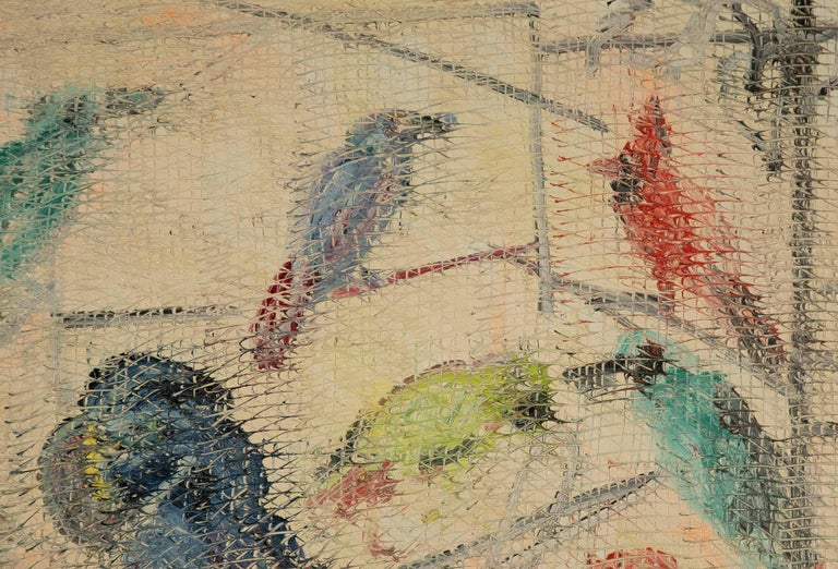Large Oil on Canvas Painting by Hunt Slonem of Parrots In Good Condition In Stamford, CT