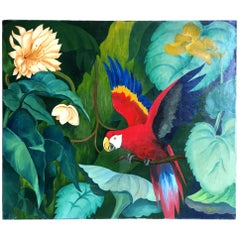 Large Oil on Canvas Parrot by Pia Tole 1947
