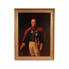 Large Oil on Canvas Portrait of a Military Gentleman