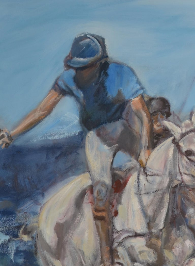 A large opil on canvas portrait of a polo player by the contemporary artist Igor Bogojevic ( Montenegro Born in 1980 ). The painting features a polo player in a swing position. The impressionist style painting features blue tone and earthy