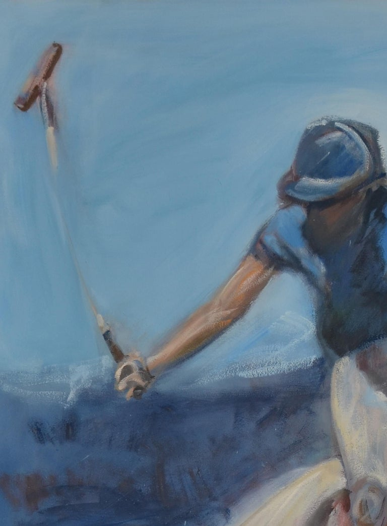 Modern Large Oil on Canvas Portrait Painting of a Polo Player For Sale