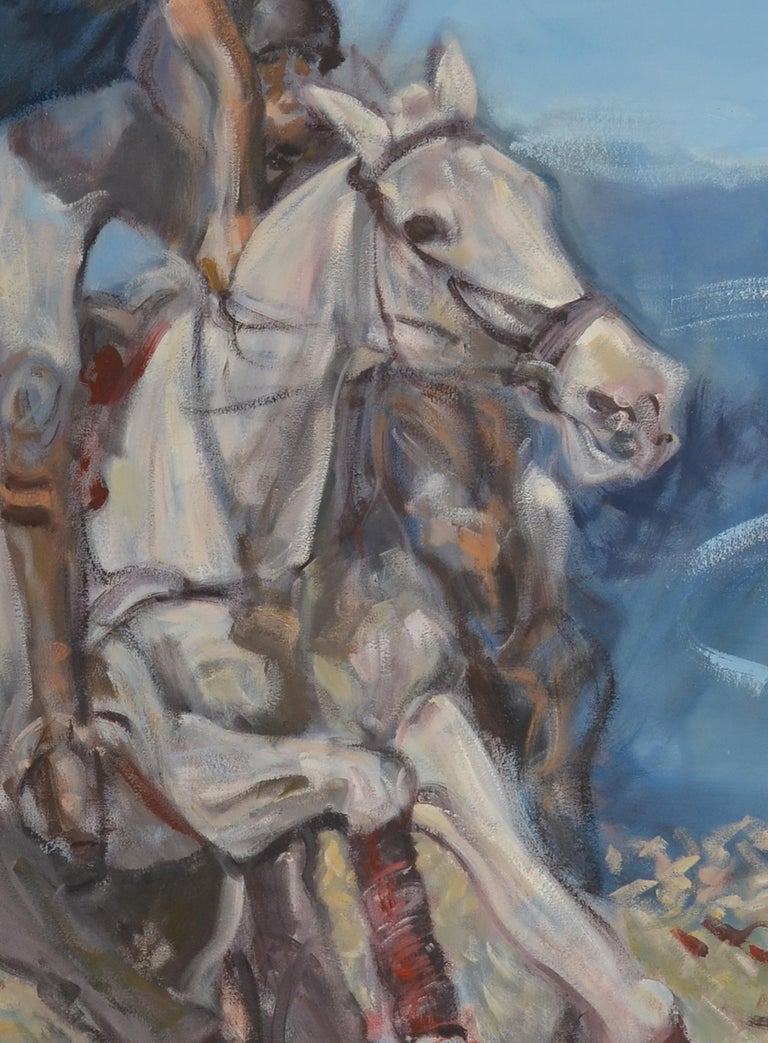 North American Large Oil on Canvas Portrait Painting of a Polo Player For Sale