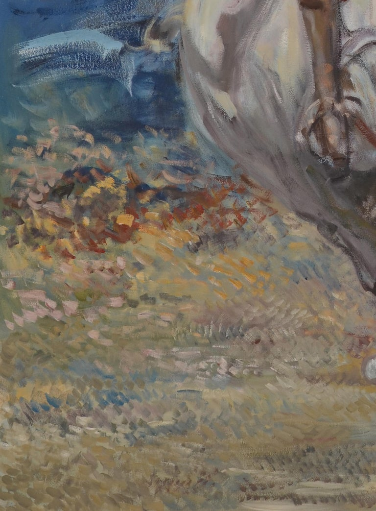 Large Oil on Canvas Portrait Painting of a Polo Player In Good Condition For Sale In Plainview, NY