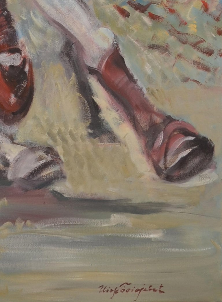 Large Oil on Canvas Portrait Painting of a Polo Player For Sale 1