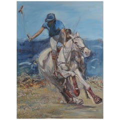 Large Oil on Canvas Portrait Painting of a Polo Player