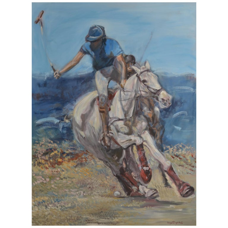 Large Oil on Canvas Portrait Painting of a Polo Player For Sale