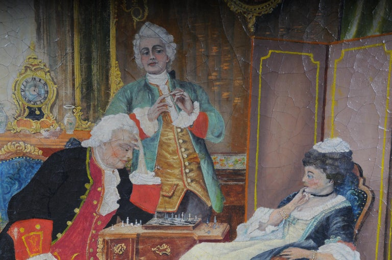 Large Oil on Canvas Rococo Painting, circa 1900 For Sale 5