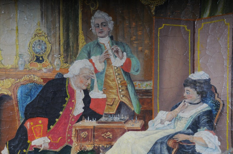 Oil painting on canvas. Extensive craquelure. Illustrations of a chess game in the Rococo period. Very decorative and colorfully painted. Framed painting, unsigned work   (S - 227).