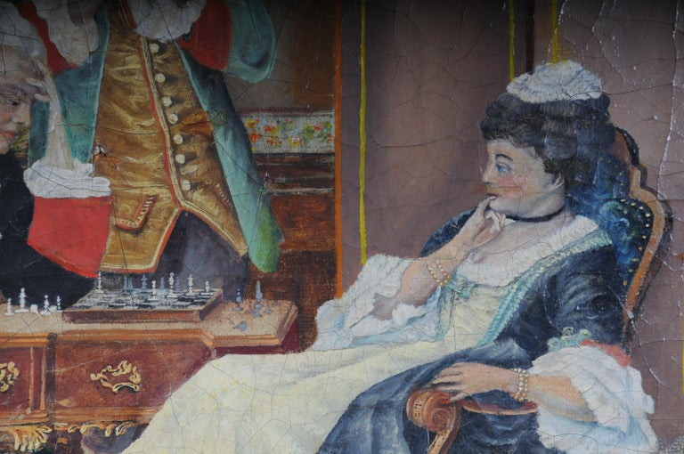 Large Oil on Canvas Rococo Painting, circa 1900 In Good Condition For Sale In Berlin, DE