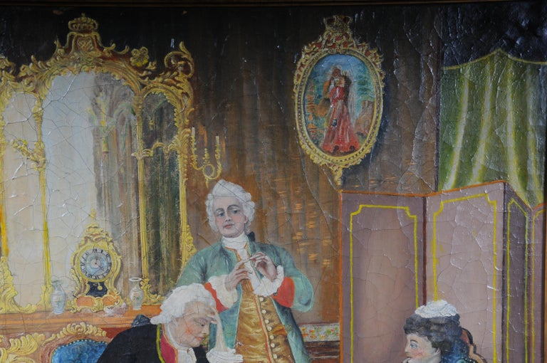 20th Century Large Oil on Canvas Rococo Painting, circa 1900 For Sale