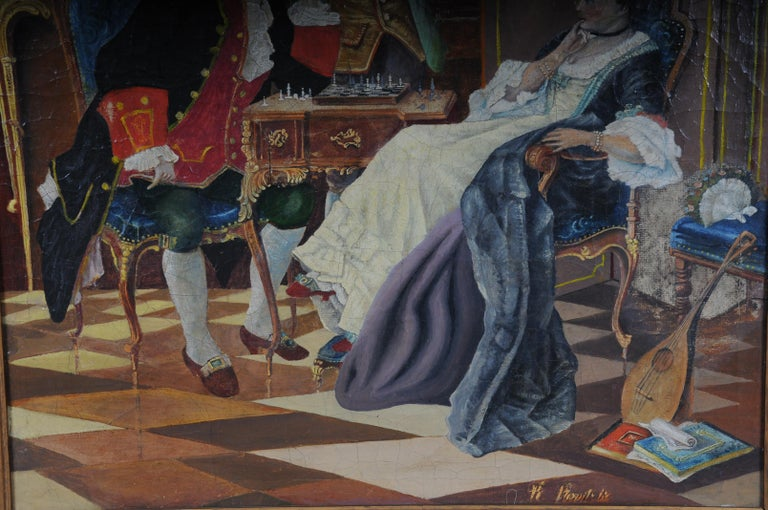 Large Oil on Canvas Rococo Painting, circa 1900 For Sale 1