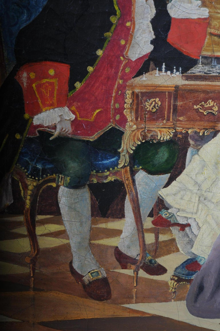 Large Oil on Canvas Rococo Painting, circa 1900 For Sale 2