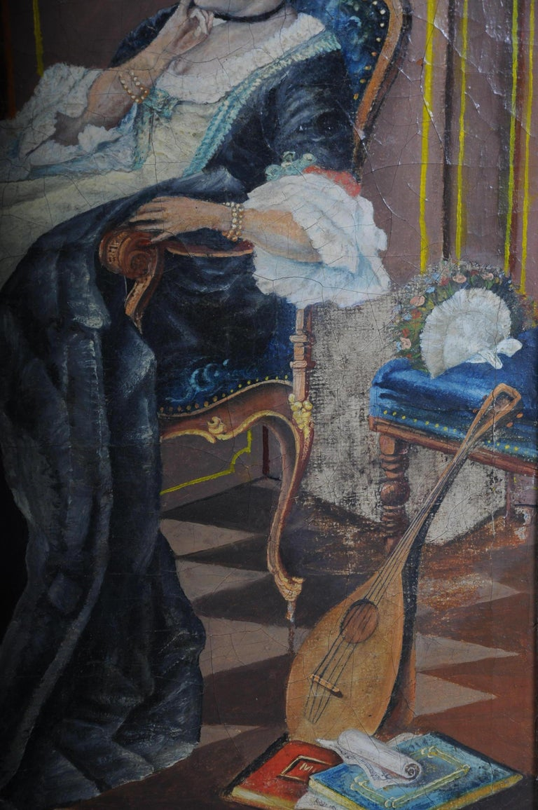 Large Oil on Canvas Rococo Painting, circa 1900 For Sale 3