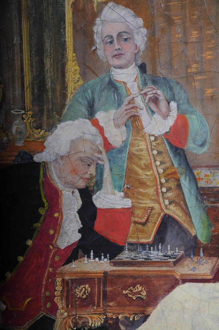 Large Oil on Canvas Rococo Painting, circa 1900 For Sale 4