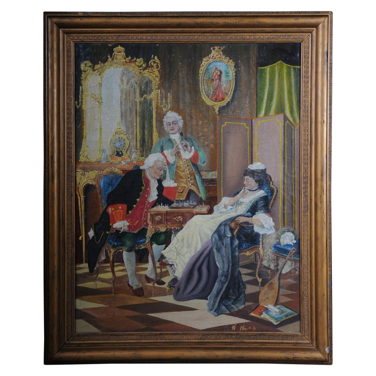 Large Oil on Canvas Rococo Painting, circa 1900 For Sale