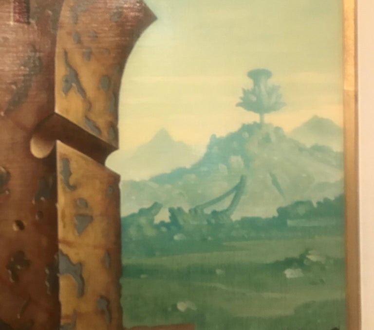 Large Oil on Canvas Surrealist Painting Artist Signed, 1977 For Sale 4