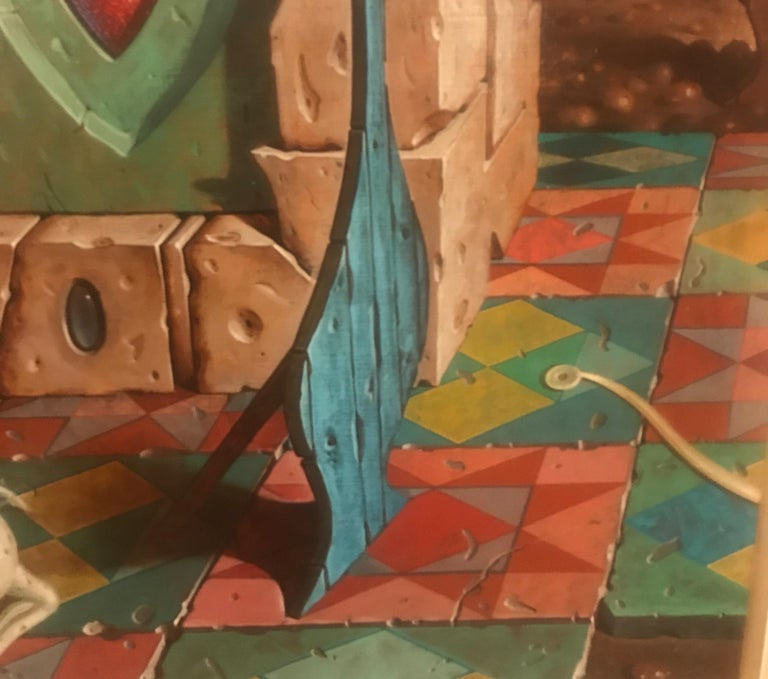 Large Oil on Canvas Surrealist Painting Artist Signed, 1977 For Sale 5