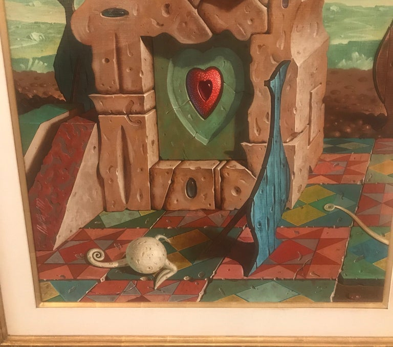 Post-Modern Large Oil on Canvas Surrealist Painting Artist Signed, 1977 For Sale