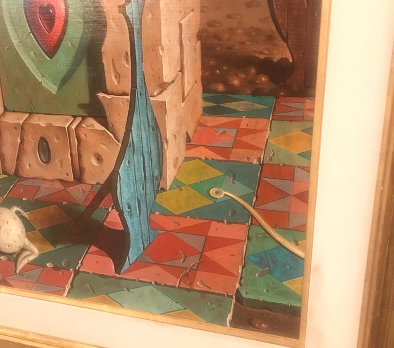 Late 20th Century Large Oil on Canvas Surrealist Painting Artist Signed, 1977 For Sale