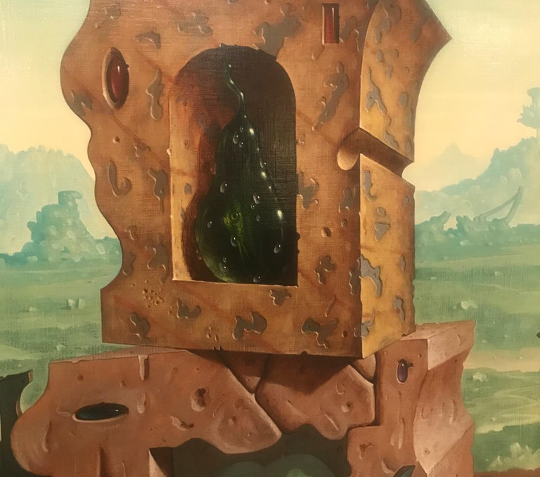 Large Oil on Canvas Surrealist Painting Artist Signed, 1977 For Sale 1