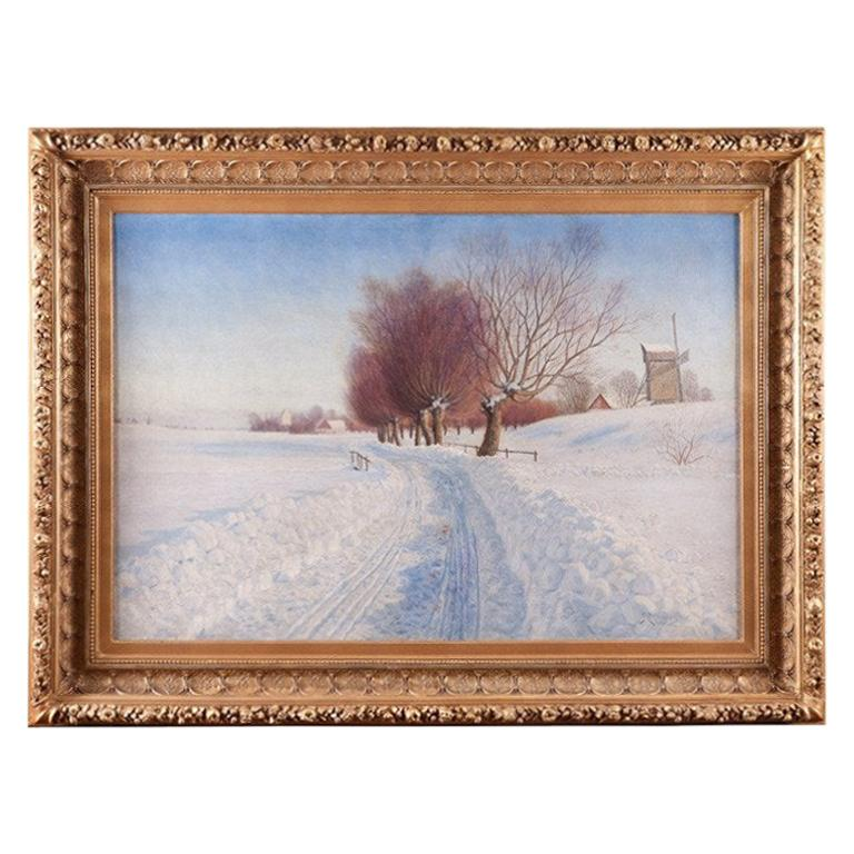 Large Oil on Canvas Winter Landscape by Peter Adolf Persson in Gilded Wood Frame
