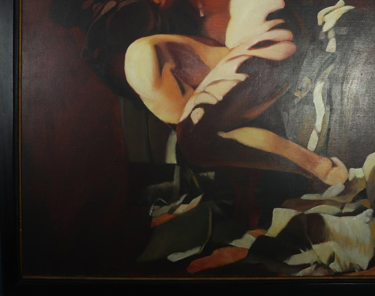 Large Oil on Canvass Lady on a club Chair by Fonferrier In Excellent Condition For Sale In Paddock Wood, Kent