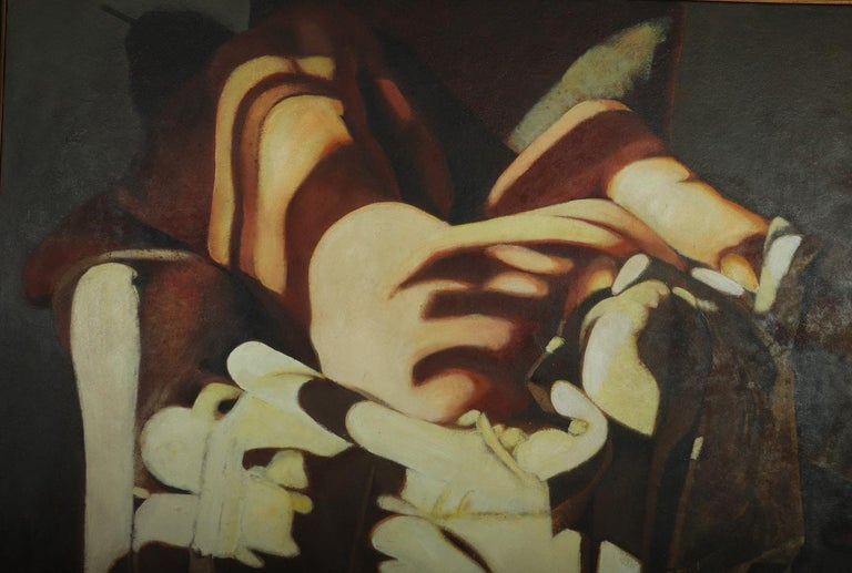 Modern Large Oil on Canvass Lady Turned on a Club Chair by Fonferrier For Sale