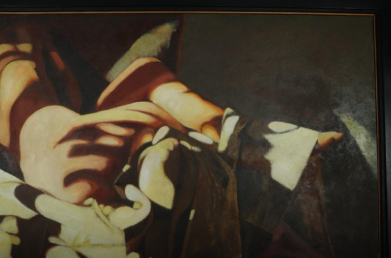 French Large Oil on Canvass Lady Turned on a Club Chair by Fonferrier For Sale