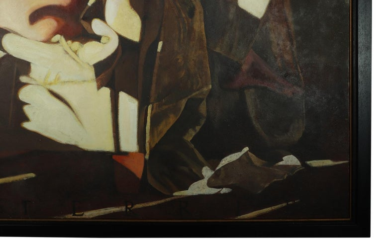 Oiled Large Oil on Canvass Lady Turned on a Club Chair by Fonferrier For Sale