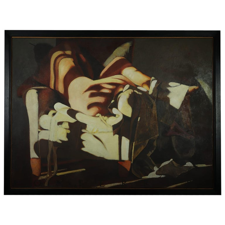 Large Oil on Canvass Lady Turned on a Club Chair by Fonferrier For Sale