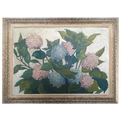 Large Oil on Panel from Valmier, 1944, Bouquet of Hydrangeas