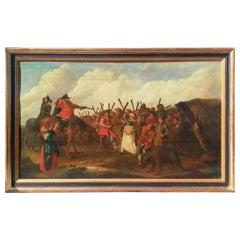 Large Oil on Panel in Wood 17th Century European School