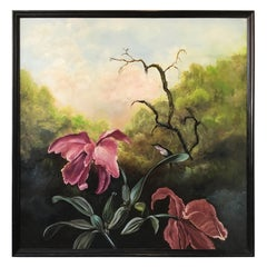 Large Oil Painting of Humming Bird and Orchards