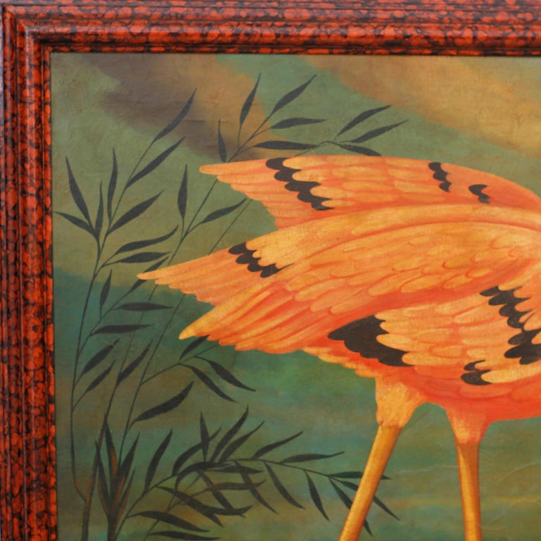 Oil painting on canvas of a flamingo and a parrot in a tropical setting executed in a distinctive Victorian parlor painting style with contrived aging. Signed Skilling in the lower right and presented in a faux tortoise wood frame.