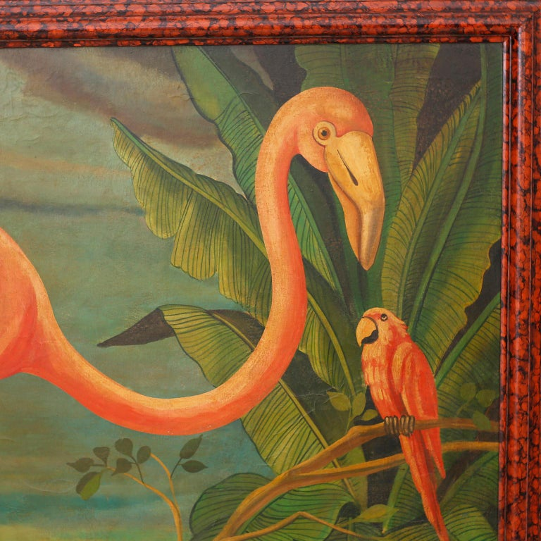 Victorian Large Oil Painting on Canvas of a Flamingo by William Skilling For Sale