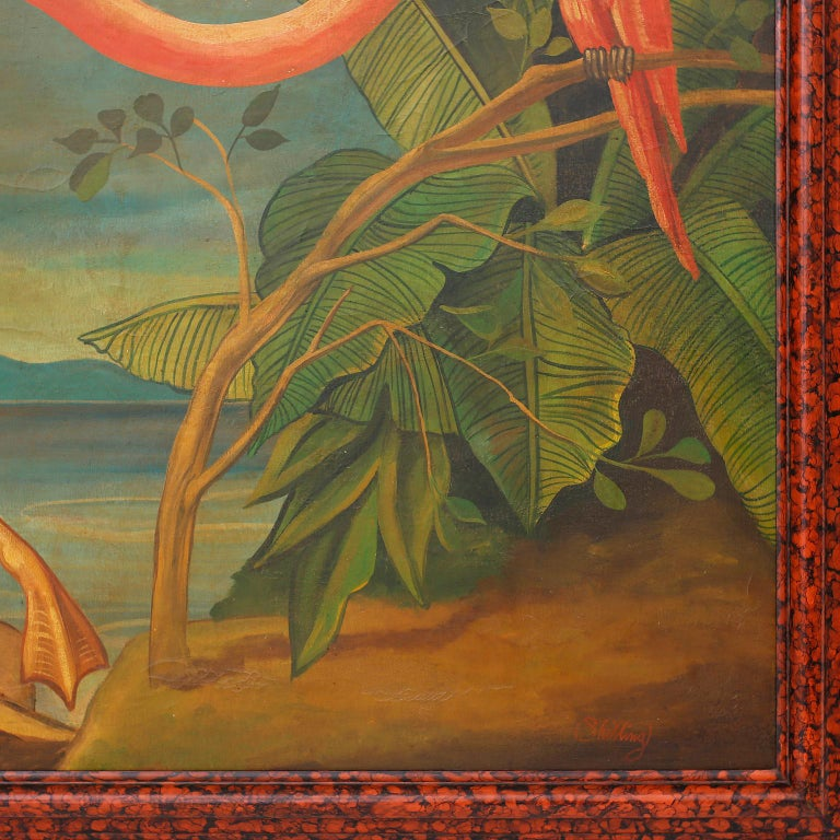 North American Large Oil Painting on Canvas of a Flamingo by William Skilling For Sale